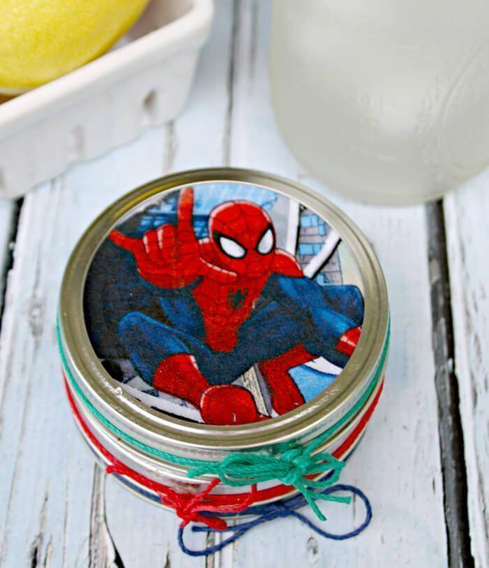 DIY Superhero Mason Jar Lid Coasters