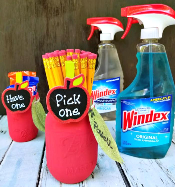 Mason Jar Apple Pencil Holder Teacher Gifts holder bottles