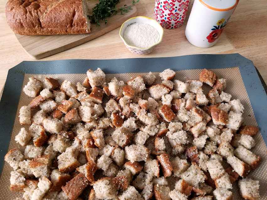 Homemade Whole Wheat Parmesan and Herb Croutons baking sheet