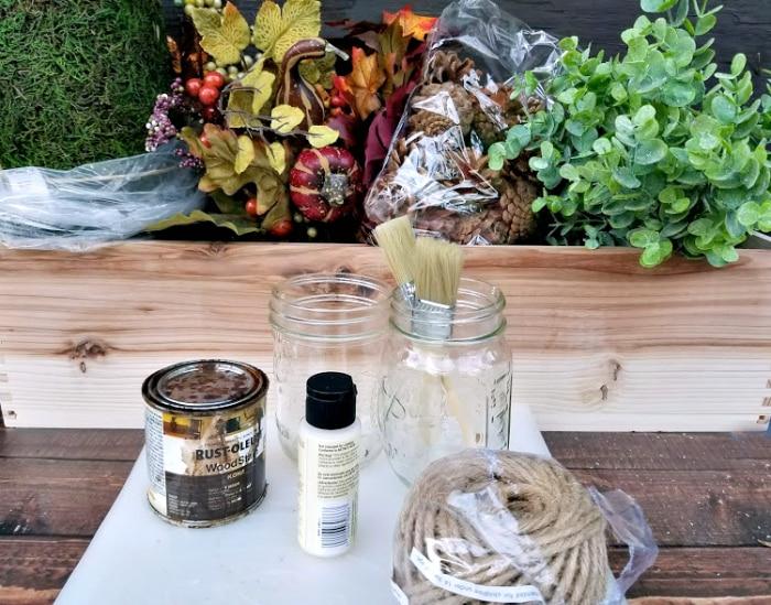 DIY Farmhouse Dining Table Centerpiece supplies