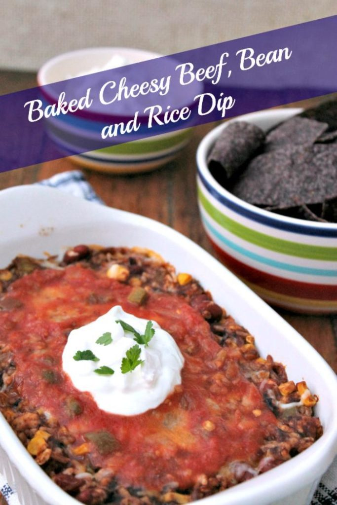 This Baked Cheesy Beef, Bean and Rice Dip is an effortless game day recipe or appetizer recipe for your next party! #ad
