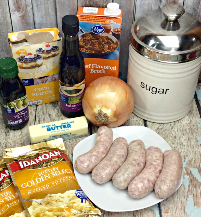 Irish Bangers and Mash Recipe With Balsamic Onion Gravy ingredients