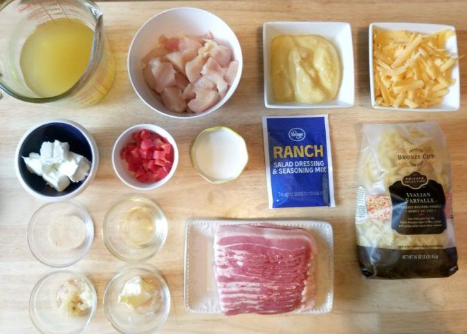 Instant Pot Chicken Bacon Ranch Pasta Recipe Ingredients