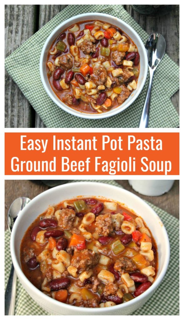 On those nights when you want a home cooked meal but do not have the time, this Instant Pot Pasta Ground Beef Fagioli Soup recipe can be ready in just 30 minutes!