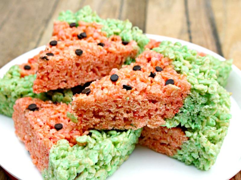 Easy Watermelon Rice Krispie Marshmallow Treats Recipe ...