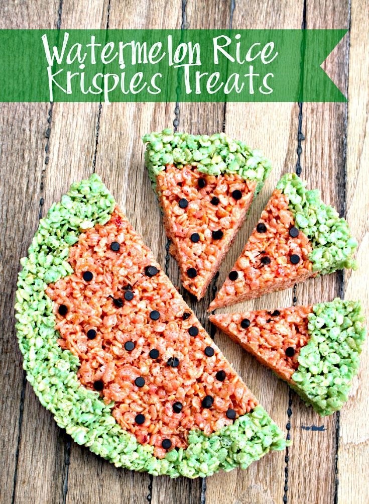 This Easy Watermelon Rice Krispie Marshmallow Treats Recipe is a fun snack the kids will love to eat and can even help make!