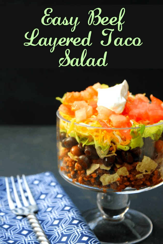 Take Taco Tuesday to another level with this easy to make Layered Taco Salad recipe. You can use ground beef, or for a healthier option, try ground turkey!