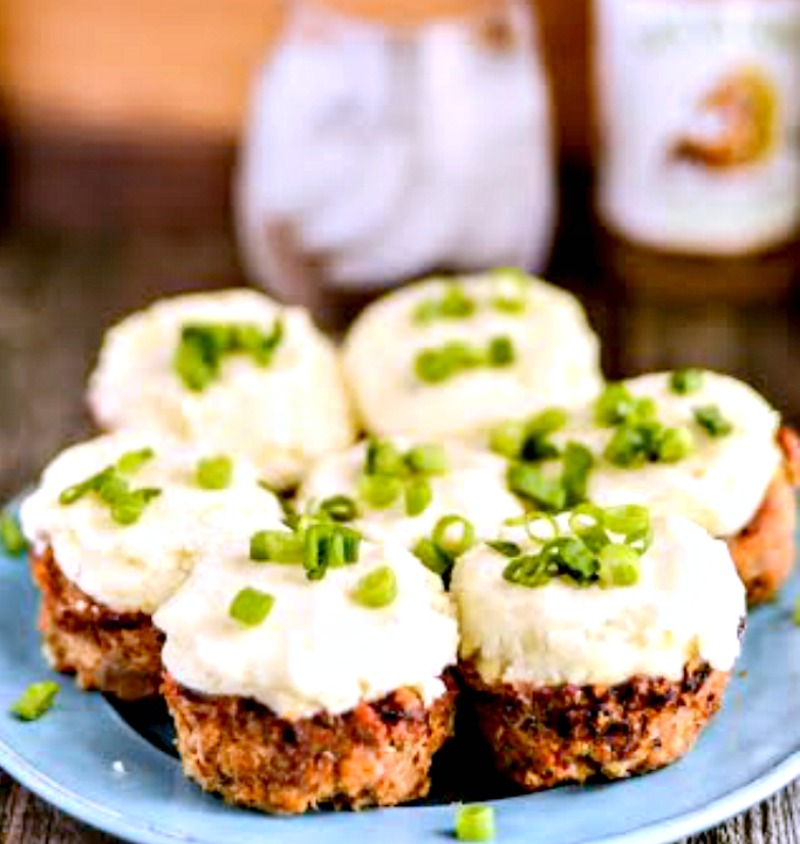 Mini Turkey Meatloaf Muffins With Mashed Potatoes recipe