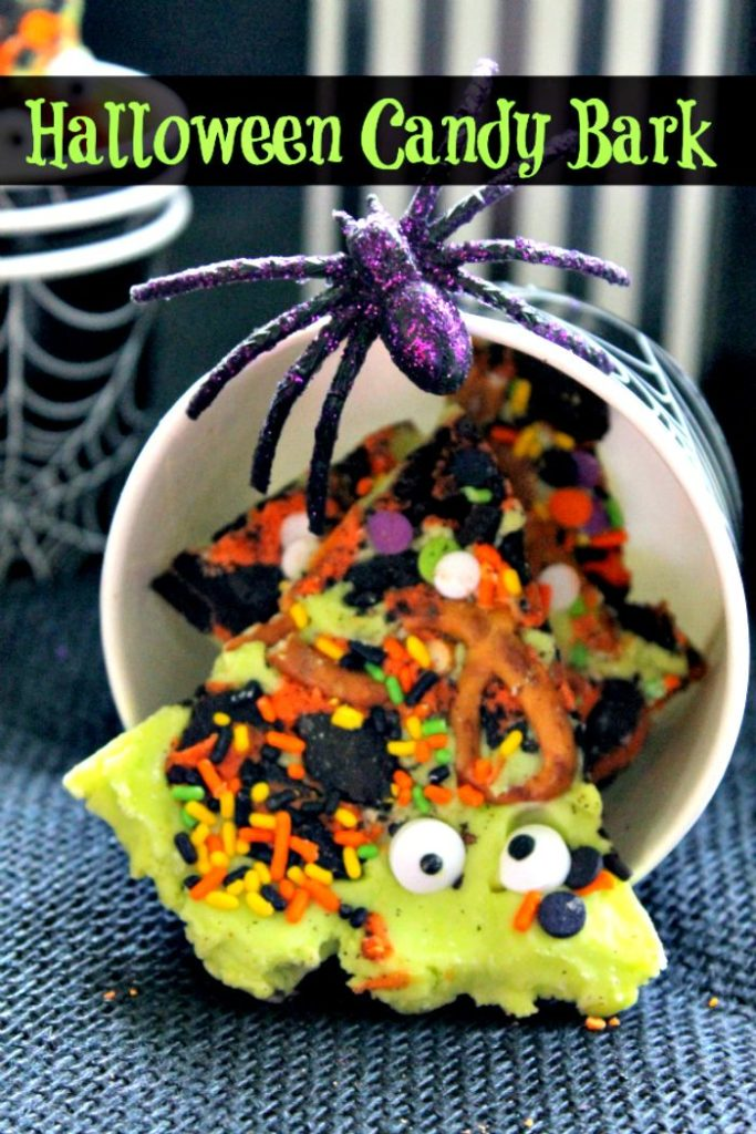 This Spooky Halloween Candy Bark is a fun snack kids can make with a little help from a grown up!