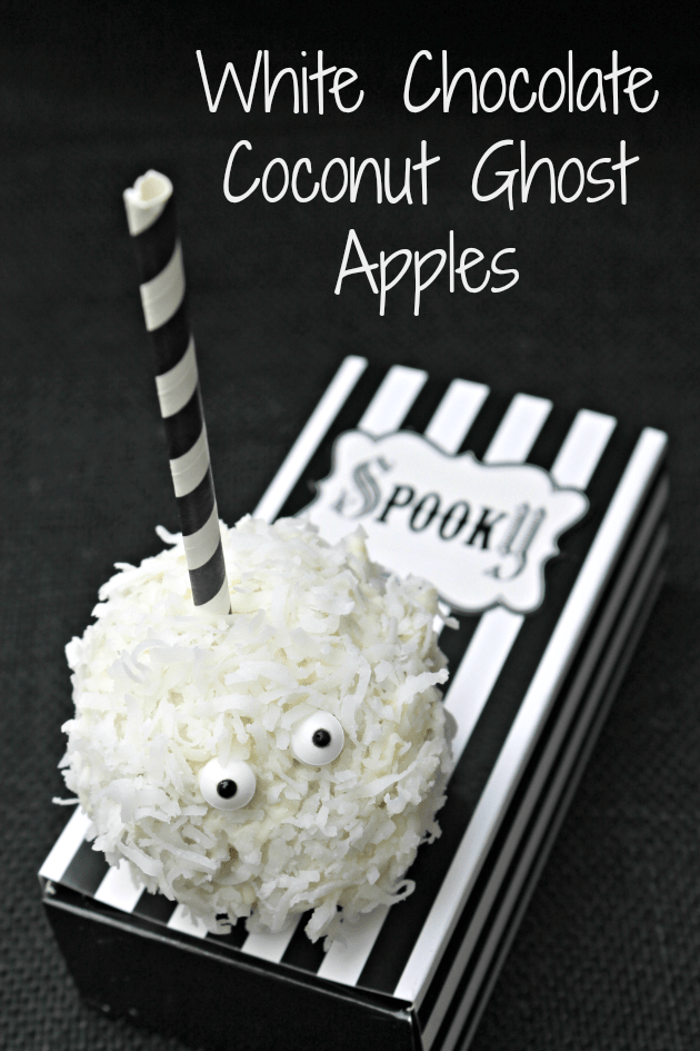 For this years Halloween party, I wanted a yummy kid friendly snack idea that would wow the crowd. These White Chocolate Coconut Ghost Apples will be perfect!