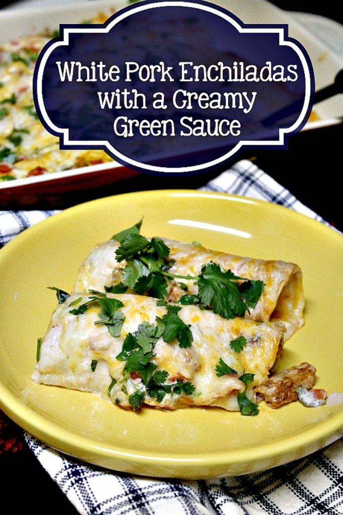 This easy to make Slow Cooker Pork Enchilada Recipe With A Creamy Green Sauce is sure to become a family favorite in your home just like it is in ours!