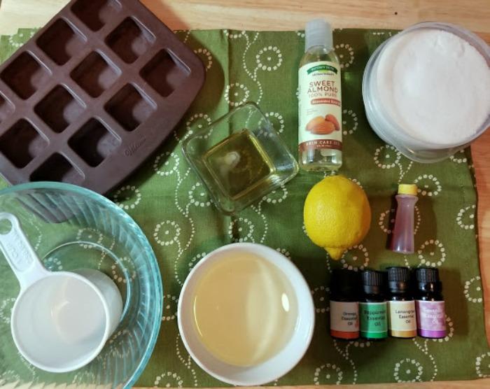 Lemon Sugar Body Scrub Cubes Recipe supplies