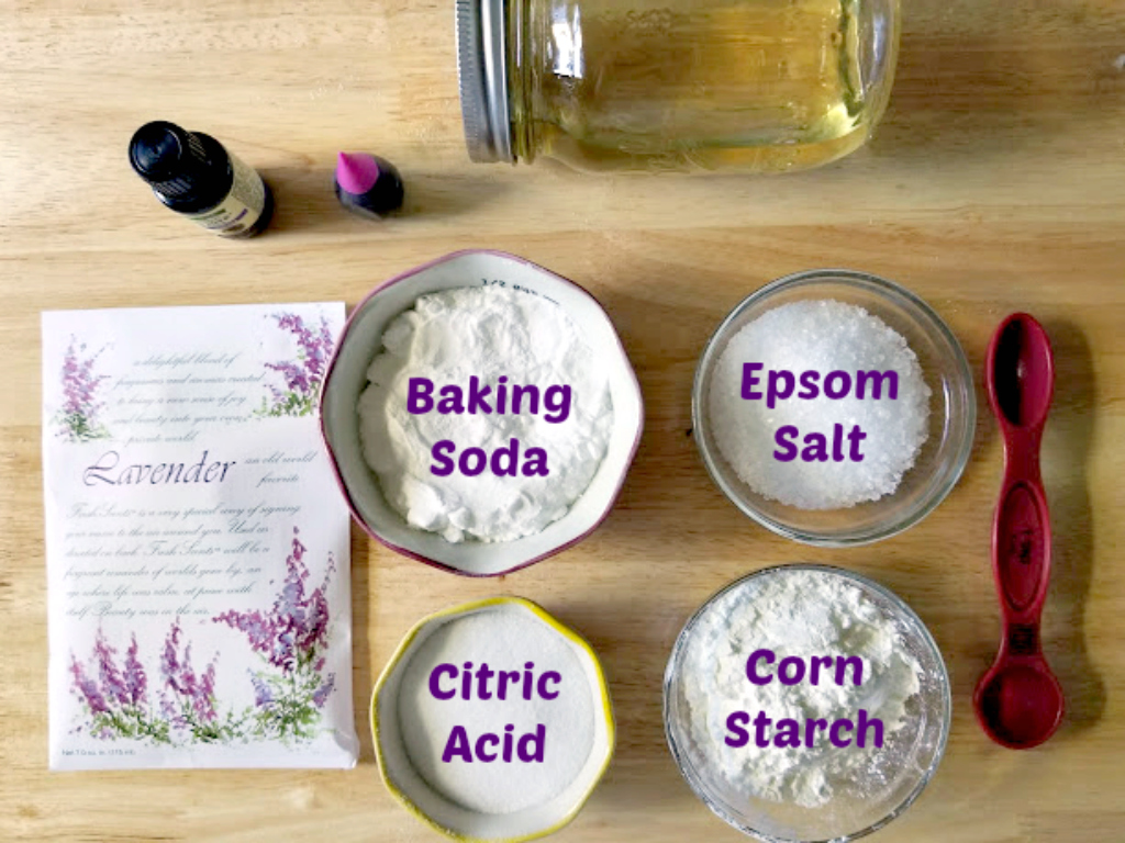 Lavender Essential Oils Bath Bomb Fizzies Recipe ingredients