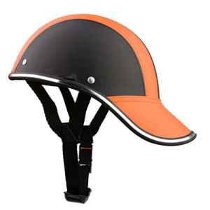 Casque Moto En Cuir PU Bols Chapeaux de Protection Motocycle à Moitié Ouverte De Visière – Orange
