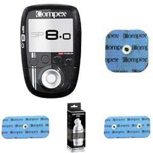 Compex SP 8.0, Pack avec 4 Electrodes EasySnap 5x5cm, 2×2 Electrodes Easysnap 5x10cm et 1 gel conducteur