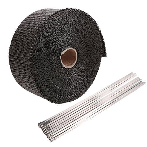 Homedox Bande Thermique Echappement 10m Ruban Isolant Thermique Céramique 10M (noir)