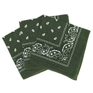Lot de 3 bandanas paisley kaki – Foulard coton motif cachemire vendu par 3
