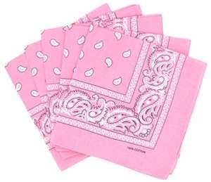 Lot de 5 bandanas paisley rose – Foulard coton motif cachemire vendu par 5