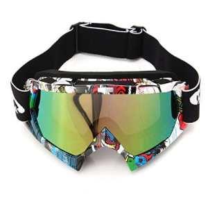 AUDEW Lunettes de Ski Protection Masque de Visage pour Extérieur Activité Moto Cross Google VTT Vélo Snowboard Anti-UV Anti-brouillard Anti-poussière Anti-Soleil Équipement Sport Hiver Loisir (QL037 Len Coloré)