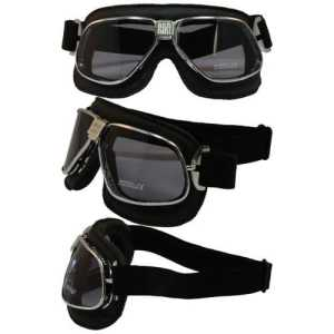 Nannini Cruiser Leather Anti-Fog Goggles (Black Frame/Grey Lens) by Nannini