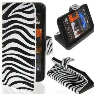 Semoss 1 X Zèbre Cuir Style Étui Coque Housse pour HTC One Mini (M4) avec serrure magnétique et compartiment de la carte