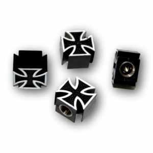 Set de 4 bouchons de valve en forme de Croix de Fer pour moto, auto, Harley, etc.