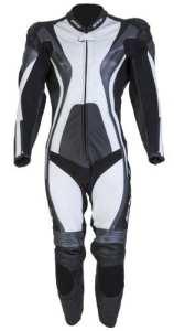 Spada moto cuir costume 1 pièce courbe noir/gris/blanc