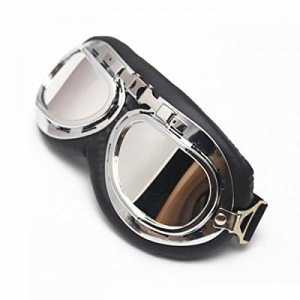 Vintage Lunettes de protection Aviator Pilot Chrome Moto Sport Half Helmet Goggles – Argent