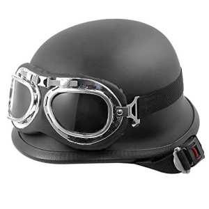 KKmoon Casque de Moto Noir En Cuir avec Des Lunettes Unisexe Unique Taille