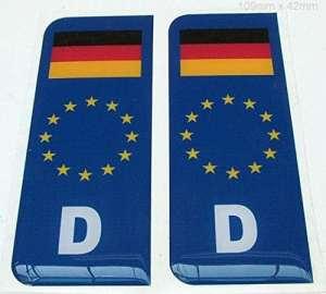 Plaque bombée en gel Bleu en UE avec drapeau–Allemagne «D