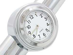 ICT Ronix Universal motorraduhr Moto Guidon Montre Horloge étanche blanc aluminium 7/8 (22/25 mm) cadran Vélo Roller