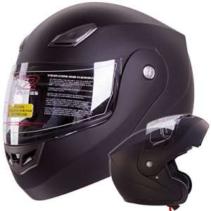 IV2 Bluetooth Compatible Modular Flip up Motorcycle Helmet Matte Black- Model #936 [DOT APPROVED] (Large) by IV2