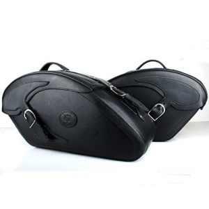 Poches de selle Noir Lot de 2poches St avec serrure et fermeture rapide–Cuir épais Pack pour Chopper