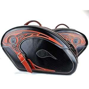 Sacoches Moto poches Noir Cuir Kit Tribal Marron Lot de 2morceaux de Exposition Pack poches avec fermeture rapide