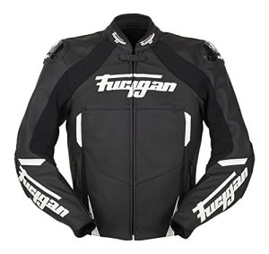 6150-143 L Furygan Cobra Leather Motorcycle Jacket L Black White