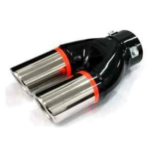 Akhan ER199 – Double embout d'échappement Sortie en acier inoxydable poli, silencieux à Garniture pour visser universel Sport Sound 202x117x51mm d=35-57mm