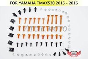 VITCIK Kits de boulons pour moto Yamaha TMAX530 2015 2016 TMAX 530 15 16 attaches aluminium CNC (Orange & Argent)