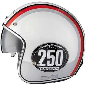 Black Smith Édition Limitée Casque Jet de Moto Scooter L Blanc Argent Rouge