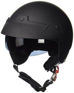 Protectwear Casque jet, avec pare-soleil pliable intégré et bouclier, noir mat, H740, Taille: L