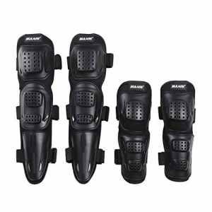 Moresave 4 pièces / set coudières moto Genouillères Genouillère Armschützer flexible respirante équipement de protection pour la course de motocross, adulte noir