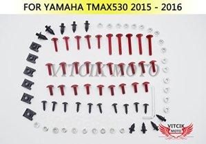 VITCIK Kits de boulons pour moto Yamaha TMAX530 2015 2016 TMAX 530 15 16 attaches aluminium CNC (Rouge & Argent)