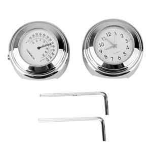 WINOMO 2 Piezas Horloge et Thermomètre étanche Noctulescents pour Guidon de Moto 7/8 Pouce 1 Pouce