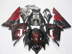 Alpha Rider Moto Rouge et Noir Carénage kit carrosserie avec housse de travail Solidification Painted pour Kawasaki Ninja Zx-10r 2004–2005