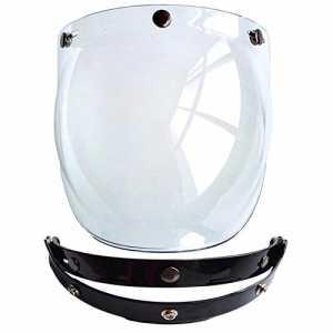 Cuzaekii Ouvrir Visage Motocyclette Casque Bulle Visière Lentille Moto Lunettes s'adapte pour Harley & Jet Casque Visière de casque Helmet Visor (Clair)