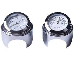 Horloge De Guidon De Moto Et Thermomètre 18/20 Cm Horloge De Guidon De Moto Imperméable Universel Yamaha Kawasaki Honda Suzuki Harley Davidson (blanc) [Classe énergétique A ++]