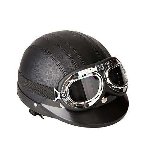 KKmoon – Casque moto ouvert en cuir moyen avec visière UV et lunettes de protection vintage style rétro – 54-60 cm noir