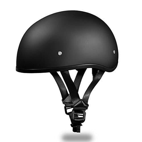 New! Slim Line Daytona Helmets *Skull Cap Style Motorcycle Helmet *Half Shell *D.O.T. Approved, DULL BLACK, Smallest D.O.T. 1/2 Shell Helmet Ever Made! *Head Wrap And Draw String Bag Included.(X-Sm) by Daytona Helmets