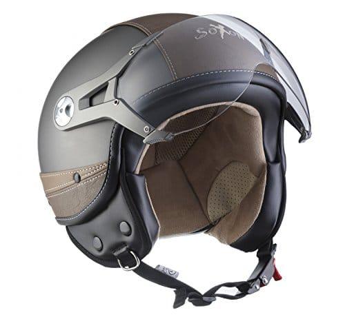SOXON SP-325-URBAN Titan · Moto Biker Helmet Scooter Casque Jet Cruiser Bobber Vespa Mofa Pilot Vintage Retro Chopper Demi-Jet · ECE certifiés · conception en cuir · visière inclus · y compris le sac de casque · Gris · L (59-60cm)