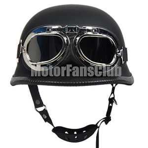Casque moto bol vintage noir mat avec lunettes de style Harley