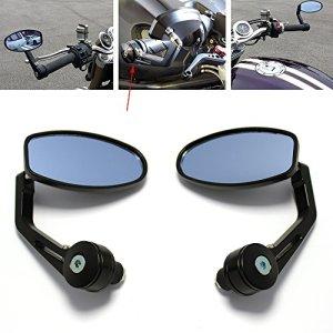 7/8″ 22mm Noir Rétroviseurs Latéraux Universel Miroir Moto Poignée Rouge Pour Yamaha Honda Triumph Ducati